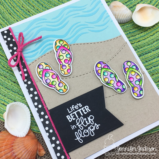 Flip-Flop Card by Jennifer Jackson | Flip-Flop Life Stamp Set by Newton's Nook Designs #newtonsnook #handmade