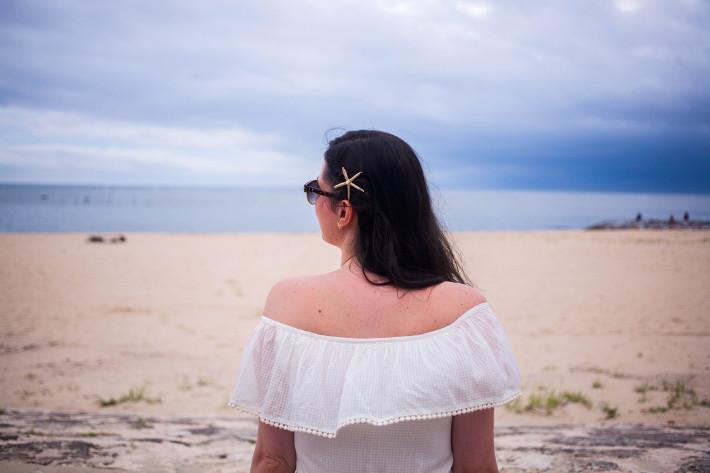 starfish hairpin, off shoulder dress, beach