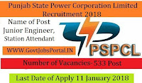 Punjab State Power Corporation Limited Recruitment 2018 – 553 Junior Engineer & Sub Station Attendant