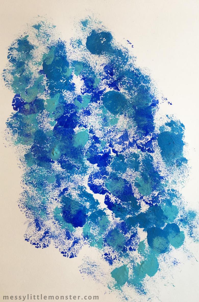 sponge painting sky for bird art project