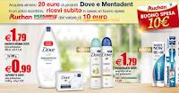 Logo Dove e Mentadent ti regalano buoni spesa da 10 euro