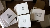 New greetings cards of stipple illustrations by Rachel M Scott