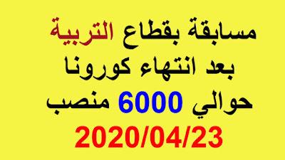 6000 منصب مالي للالتحاق برتبة استاذ تعليم ابتدائي 2020/04/23
