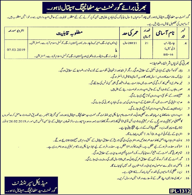Govt Syed Mitha Teaching Hospital Lahore Latest Jobs 2019 For Charge Nurse
