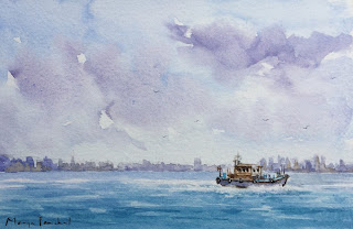 Watercolor painting of seascape on Canson vidalon paper . By Manju Panchal