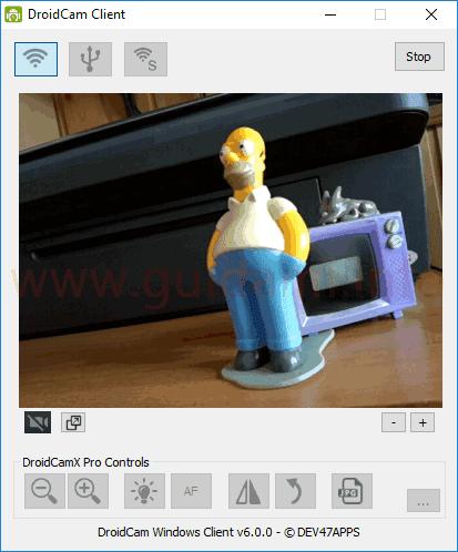 DroidCam Client PC desktop fotocamera cellulare Android rilevata