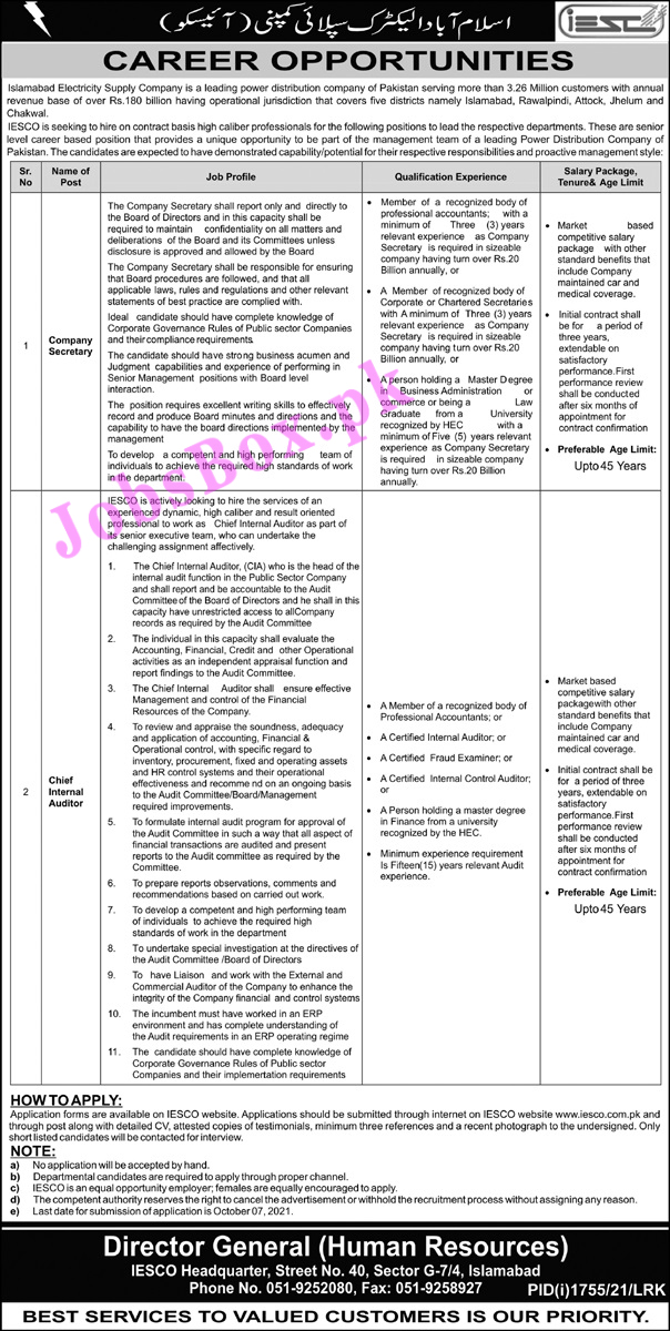 Islamabad Electric Supply Company IESCO Jobs 2021 – Apply Online
