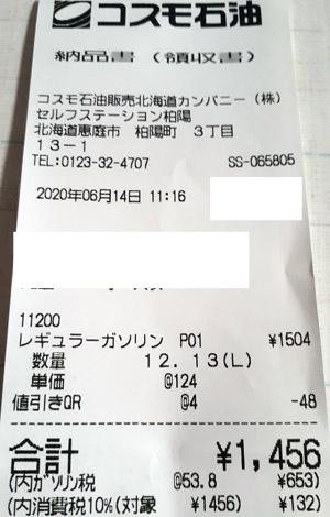 コスモ石油 セルフステーション柏陽 2020/6/14 のレシート