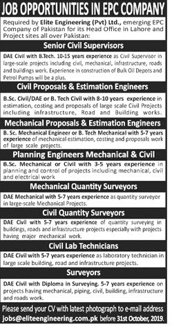 Elite Engineering Islamabad Jobs 2019