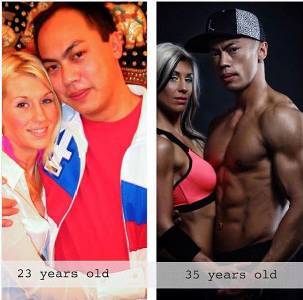 Check out before and after pictures of this body-building couple