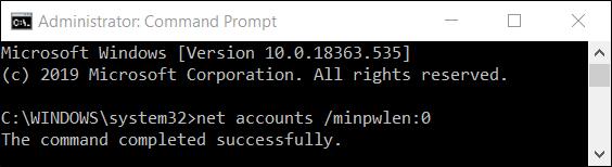 """إعادة تعيين طول كلمة المرور مرة أخرى إلى الافتراضي عن طريق تعيينها على الحد الأدنى لطول """"0""""."""