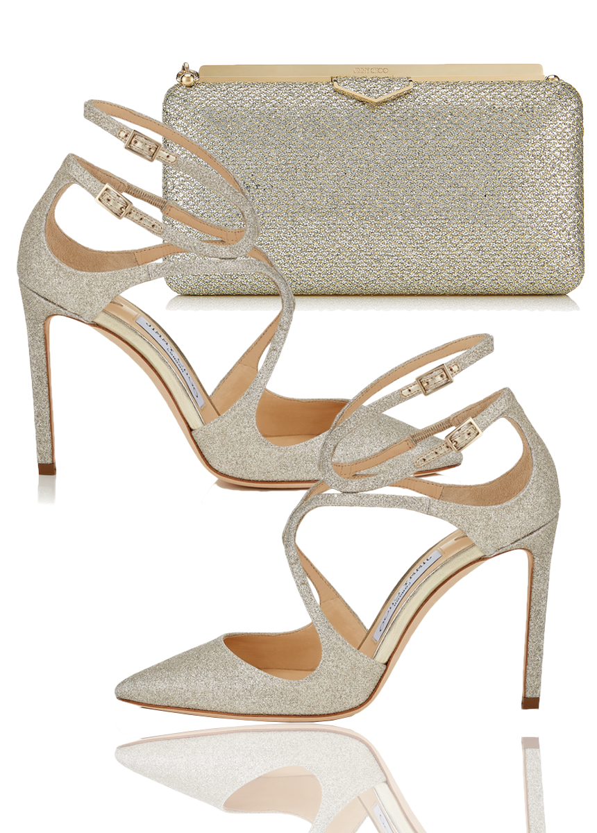 JIMMY CHOO LANCER 100 SANDALS AND ELLIPSE CLUTCH