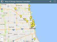 Map of Chicago Honorary Consulates