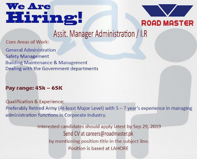 Road Master Jobs 2019 For Asst. Manager Administration Latest Jobs In Lahore