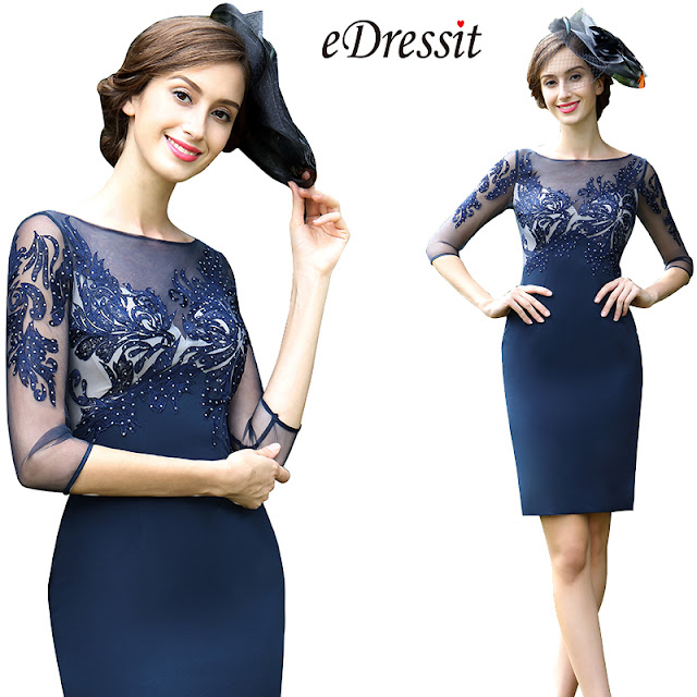 blue embroidery beaded mother of the bride dress