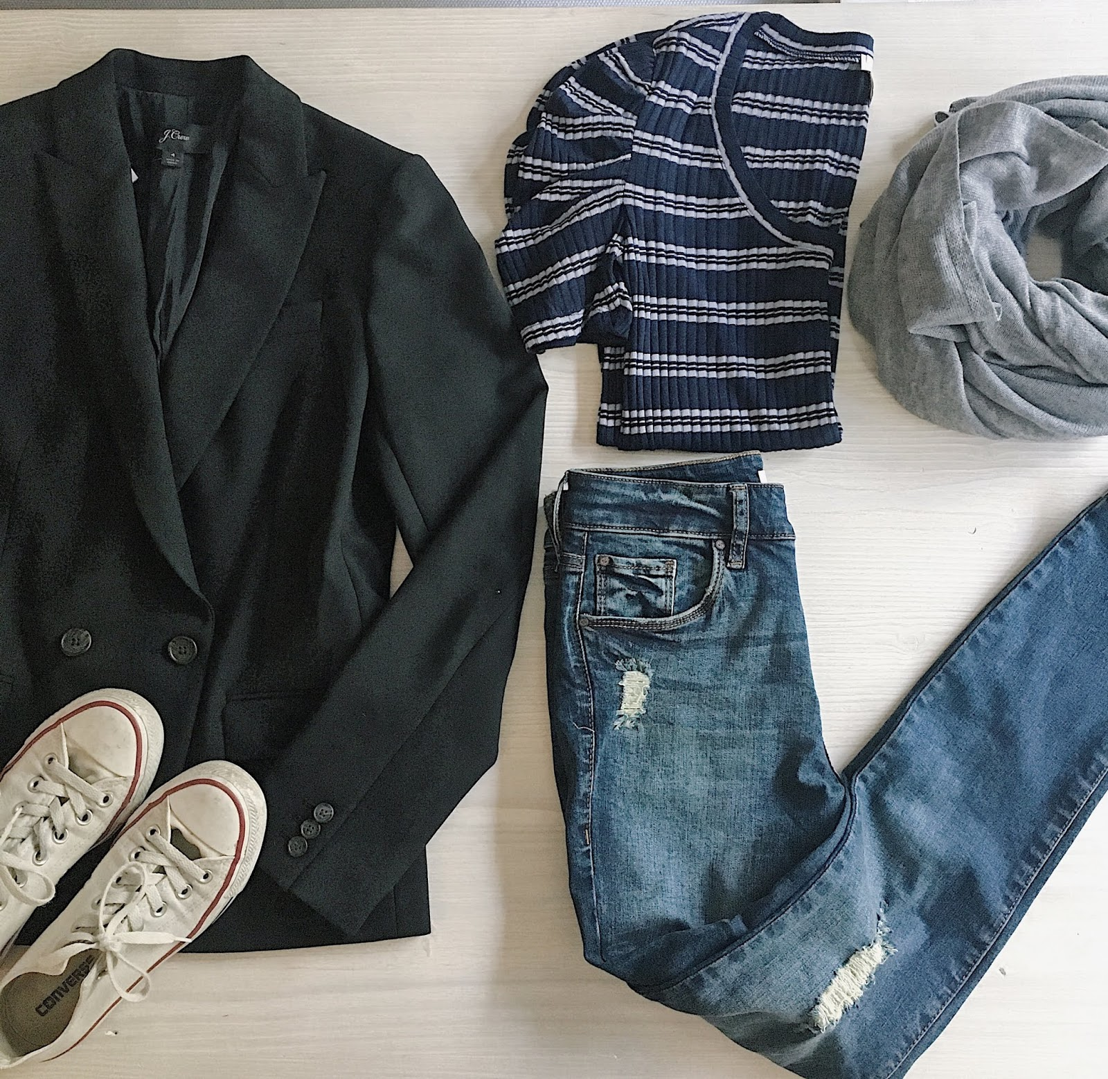 blazer outfit flat lay