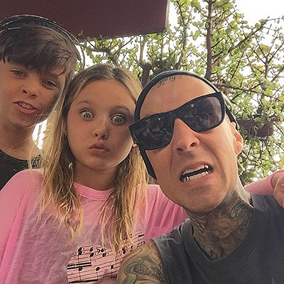 Travis Barker with daughter Alabama Luella and the son Landon 002