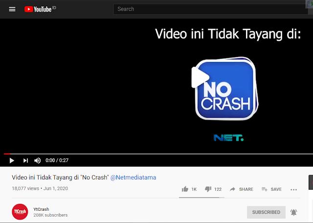 """Saluran TV Netmediatama atau NET TV, begitulah tertulis di video yang diupload di YtCrash yang diberi judul Video ini Tidak Tayang di """"No Crash"""" @Netmediatama"""