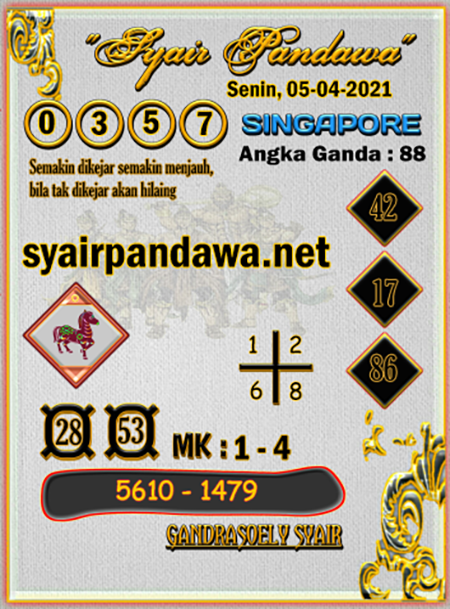 Prediksi Pandawa SGP Senin 05 April 2021