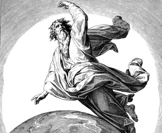 """The second day of God's creation of the world, the separation of terrestrial and celestial waters. Woodcut for """"Die Bibel in Bildern"""", Julius Schnorr von Carolsfeld 1860"""