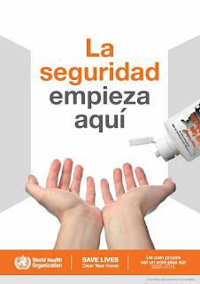 Cartel perteneciente a la OMS que reivindica el lavado de manos: dos manos con las palmas hacia arriba, en gesto de recibir agua y jabón