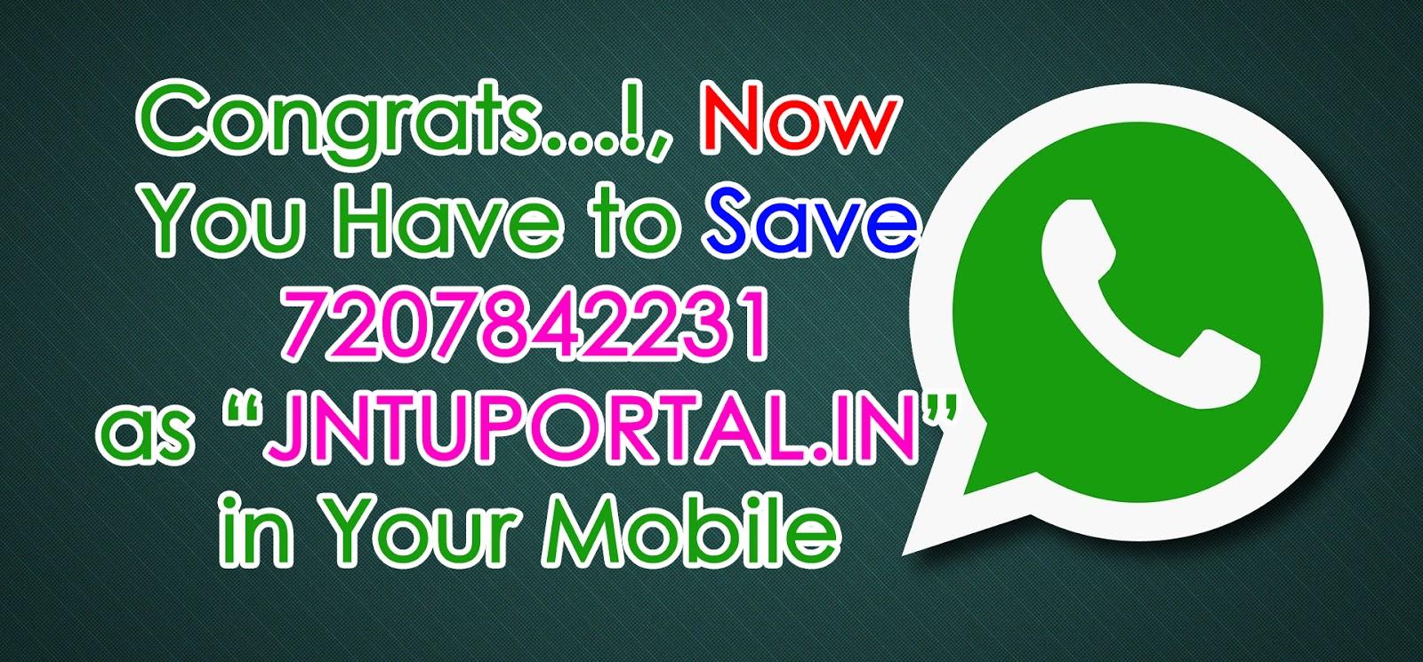 JNTU PORTAL Step2 : WhatsApp Updates