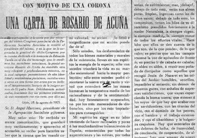 Fragmento de la carta publicada en La Aurora Social