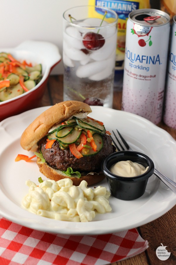 Korean BBQ Burgers with Kimchi Cucumbers | by Renee's Kitchen Adventures - easy recipe for grilled burgers and spicy cucumbers that make a great topping or side dish @gianteagle #SummerofGrilling #ad