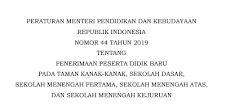 Permendikbud Nomor 44 Tahun 2019 Tentang PPDB TK SD SMP SMA dan SMK