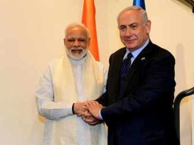 Prime Minister Narendra Modi With Israeli Counterpart Benjamin Netanyahu