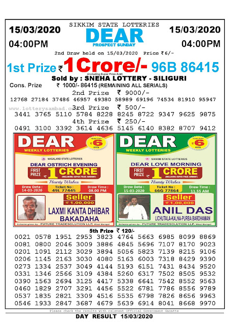 Sikkim State Lotteries 15-03-2020 Lottery Sambad Result 04:00 PM