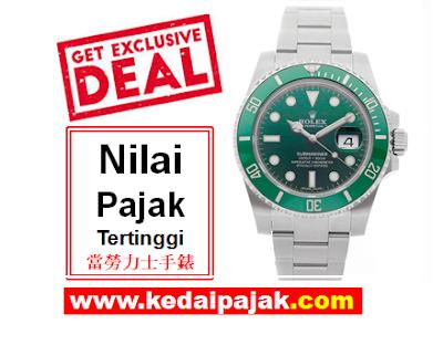 Pajak Jam Rolex Submariner Hulk  - kedaipajak
