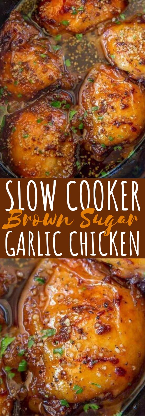 Slow Cooker Brown Sugar Garlic Chicken #chicken #dinner
