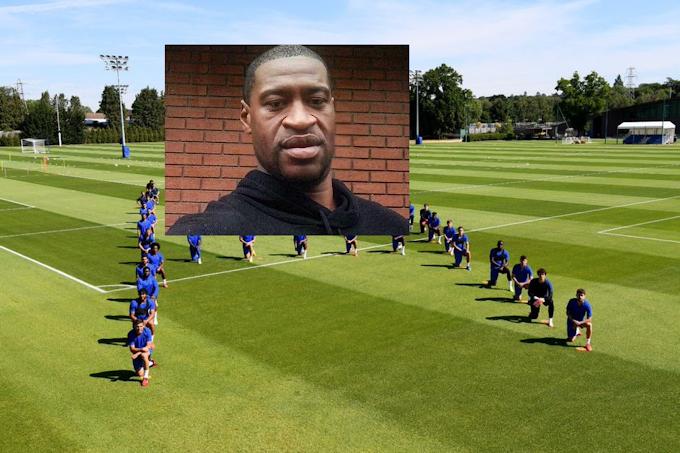 """La première équipe de Chelsea s'est mise à genoux pour soutenir George Floyd en tant que tendances """"Blackout Tuesday"""" sur les réseaux sociaux."""