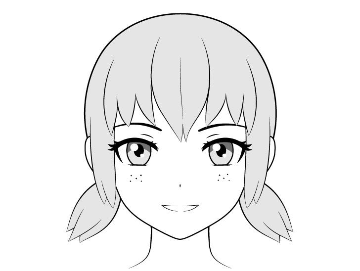 Bintik-bintik anime di gambar pipi