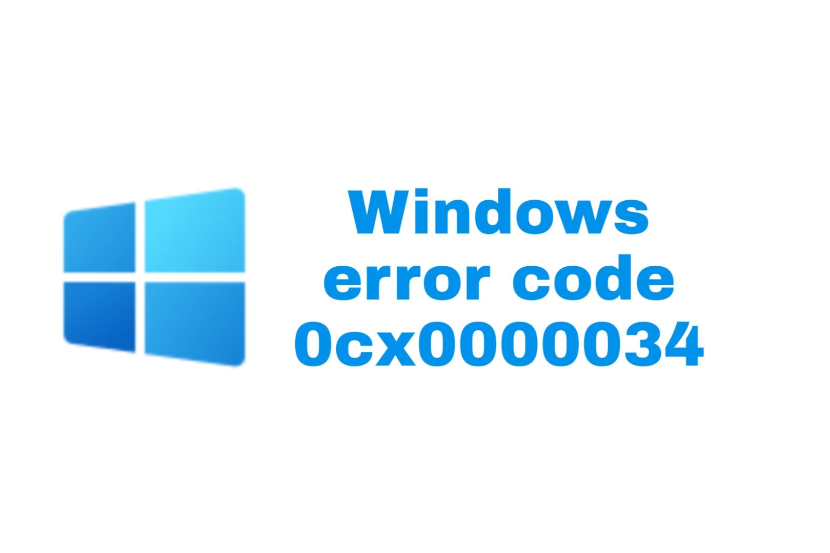 error code 0x0000034