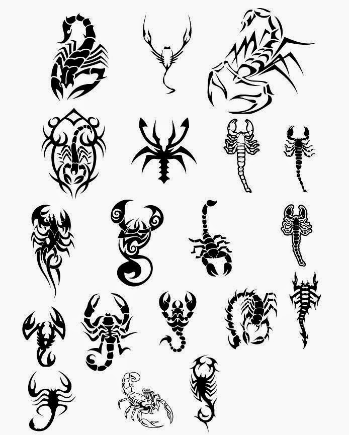 Various scorpions small size tattoo stencil