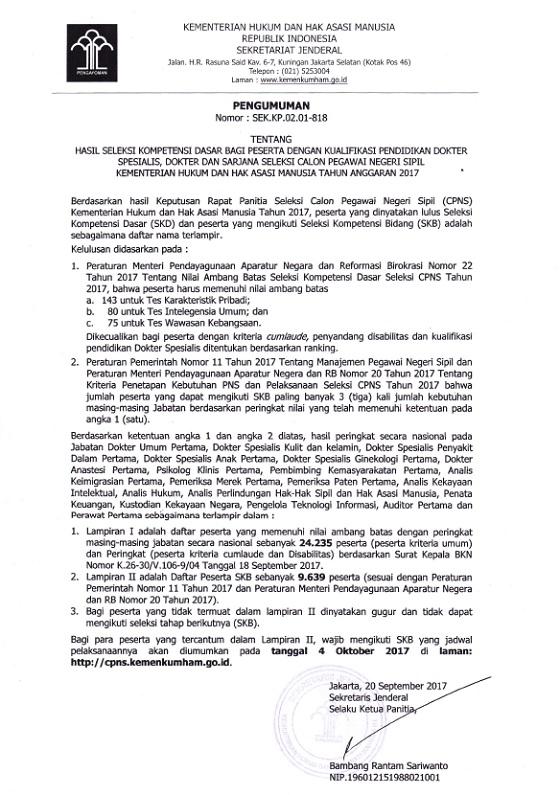Cek Pengumuman Hasil SKD CPNS Kemenkumham 2017 Kualifikasi Pendidikan Dokter Spesialis, Dokter Dan Sarjana