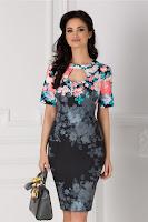 Rochie Eleonora neagra cu imprimeu floral albastru