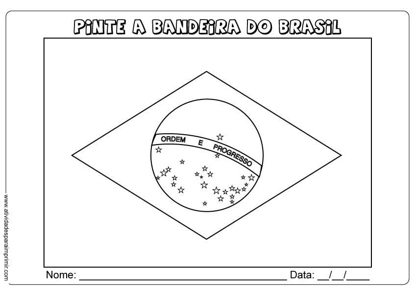 Bandeira Do Brasil Para Imprimir E Colorir
