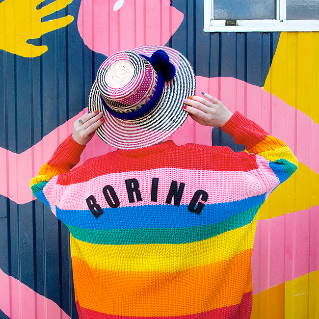Lazy Oaf, rainbow cardigan, wayuu hat