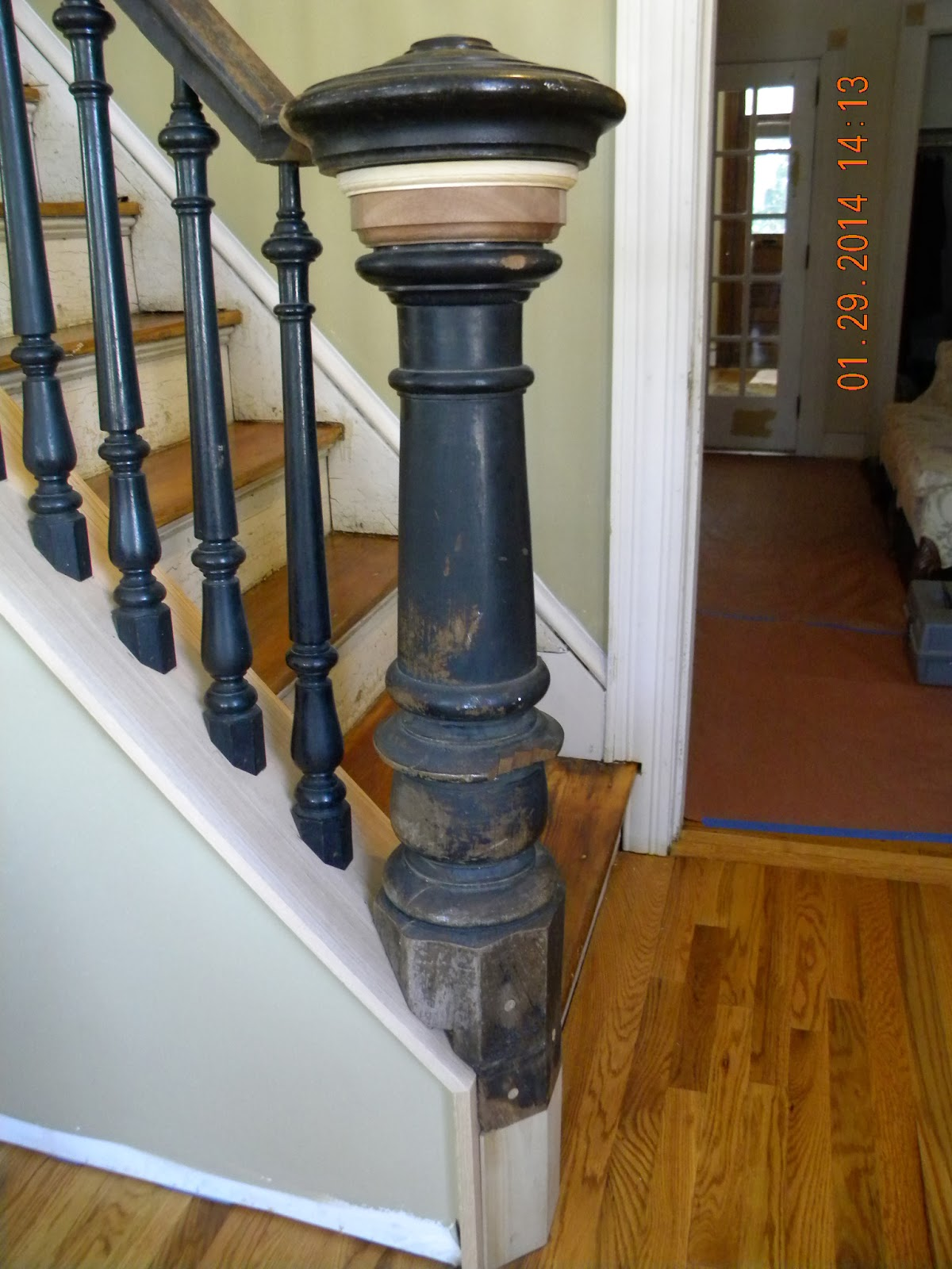 Wood Stairs And Rails And Iron Balusters Install Wood