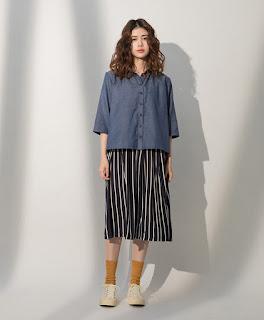 小領微甜七分袖單寧藍襯衫模特兒實穿