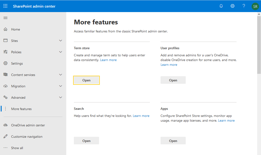 sharepoint online add term store administrator