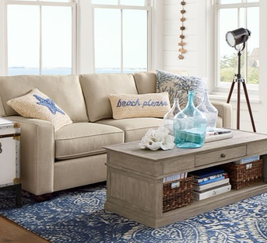 Beach Decor Living Room Idea Pottery Barn