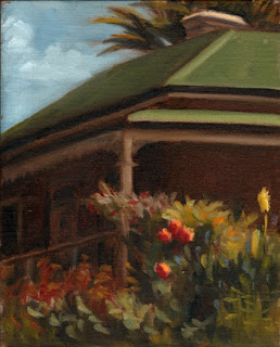 Oil painting of a Victorian-era free-standing house with flowers and shrubs in the foreground.