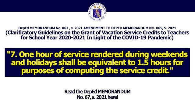 DepEd MEMORANDUM No. 067 , s. 2021 AMENDMENT TO DEPED MEMORANDUM NO. 065, S. 2021