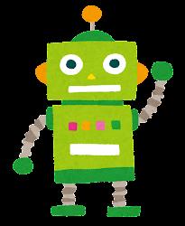 玩具のロボットのイラスト(緑)
