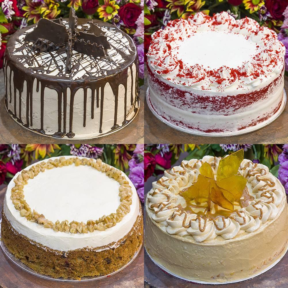 Cardinal Cakes bestsellers: Dark Chocolate Cake, Naked Red Velvet Cake, Walnut Carrot Cake, and Caramel Cake