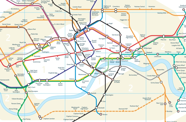 Geographical Map Of London.Data Deluge New Tube Map For London
